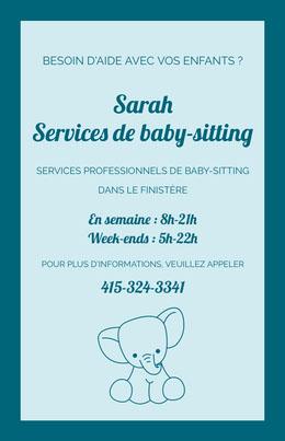 Sarah <BR>Services de baby-sitting Prospectus