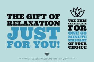 Blue Bold Massage Gift Certificate Certificate