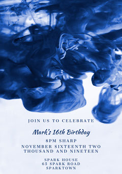 Blue and White Birthday Party Invitation Boys