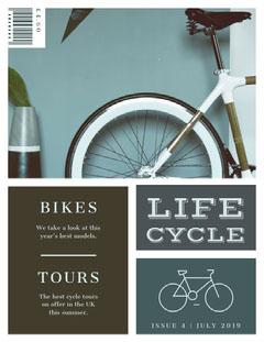 Blue and Black Life Cycle Magazine Cover Bike