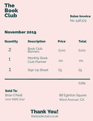 Black and White Simple Book Club Invoice Faktura