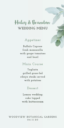 White and Green Foliage Wedding Menu Menu bruiloft