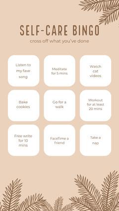 selfcare bingo instagram story Leaf