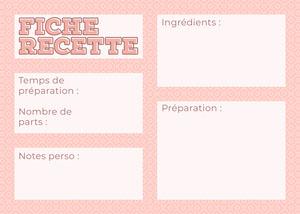 Pink Pattern Recipe Card Fiche de recette