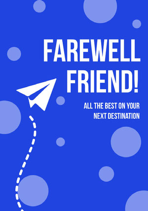 Blue and White, Light Toned, Symbolic, Farewell Card Good Luck Card