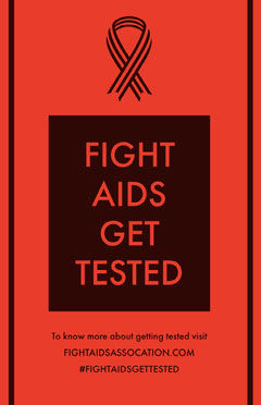 Red AIDS Campaign Poster with Ribbon Campaign