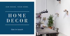 White and Blue Home Decor Facebook Ad Decor
