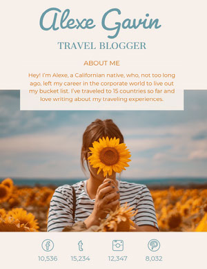 Blue and Orange Travel Blogger Media Kit with Woman in Sunflower Field Kit per i media