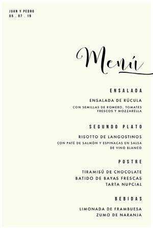 classic wedding menu Menú