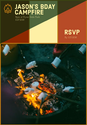 Earthy Tones Birthday Campfire Party Invitation Card with Marshmallows Convite de aniversário