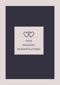 Pink Engagement Congratulations Card with Joined Hearts Bryllupsgratulasjoner