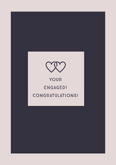 Pink Engagement Congratulations Card with Joined Hearts Couple
