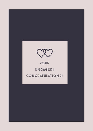 Pink Engagement Congratulations Card with Joined Hearts Biglietto di congratulazioni