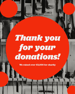 Gray and Red Circles Charity Thank You for Donations Instagram Portrait Donations Flyer