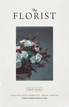 Black and White, Florist Minimalistic Ad, Poster Shopping