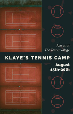 Black and White Tennis Camp Poster Tennis