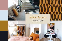 Golden Accent Home Decor Mood Board Montage photo