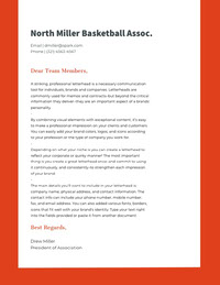 White and Orange Professional Letter Basketball