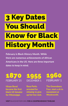 Purple and Yellow Black History Month Infographic with Important Dates History