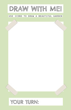 Green Background Children Garden Drawing Activity Card Garden