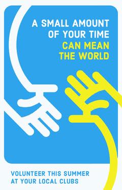 Blue and Yellow Hands Volunteering Flyer Volunteer