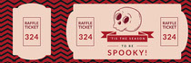 Pink Spooky Season Skull Halloween Party Raffle Ticket Scary
