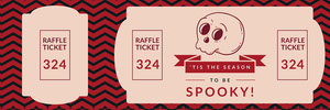 Pink Spooky Season Skull Halloween Party Raffle Ticket Billet de tombola
