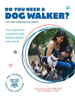 Blue and Coral Playful Dog Walking Services Ad Poster Dog Walker Flyer