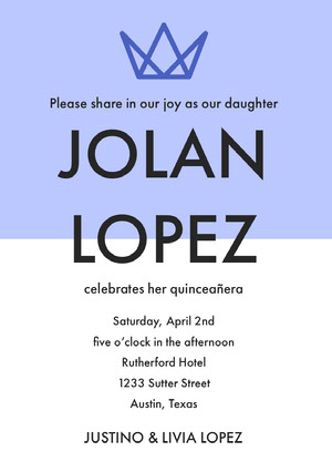 Blue Quinceanera Birthday Invitation Card with Crown Invitación de quinceañera