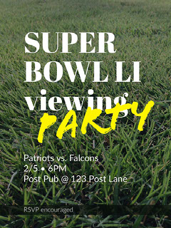 Green and White Party Poster Super Bowl