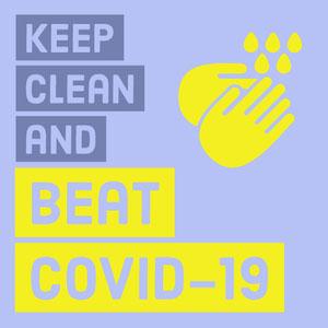 Yellow and Blue COVID-19 Instagram Square Affiche Lavez-vous les mains