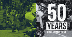 Green and Grey Homecoming Game Ad Facebook Banner Football