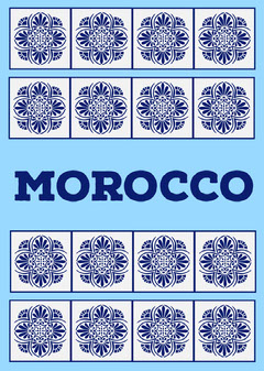 Blue Morocco Postcard with Tiles Pattern Design