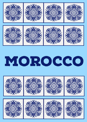 Blue Morocco Postcard with Tiles Postal