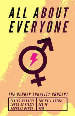 Orange Gender Equality Concert Poster with Gender Symbols Campaign