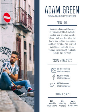 Blue Fashion Influencer Media Kit with Man Sitting on Street Kit per i media