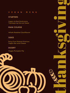 Brown and Yellow Vegan Thanksgiving Menu Flyer Thanksgiving Menu