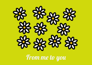 Green Flowers Illustration From Me To You Postcard Tarjetas postales