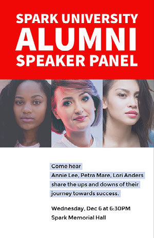Red and White Collage Speaker Panel Event Flyer Poster  Pôster de evento