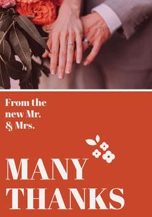 MANY THANKS  Tarjetas de agradecimiento de boda