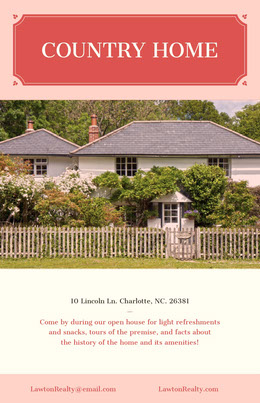 Pink Real Estate Country Home Open House Flyer with Exterior Prospectus immobilier