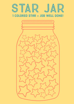 Yellow & Red Star Jar Reward Sheet A3 Print Poster Job Poster