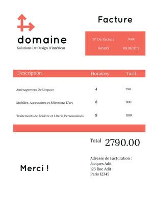 interior design company invoice  Facture