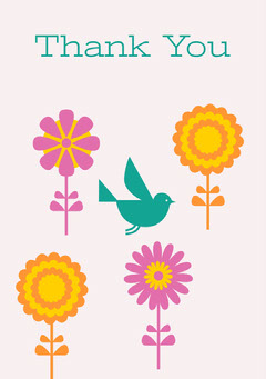 Illustrated Thank You Greeting Card with Flowers and Bird Bird