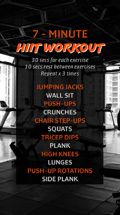 HIIT workout Instagram story  Exercises