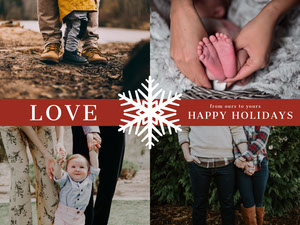 Warm Toned Collage Family Christmas Card Christmas Card