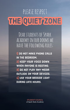 Blue and Orange Dormitory Quiet Zone Rules Information Flyer Student Council Poster