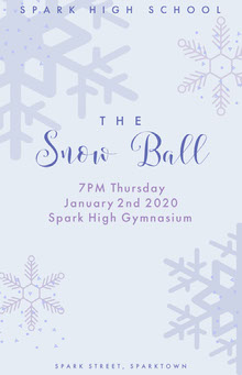 White and Grey Snowball Winter Dance Poster School Posters