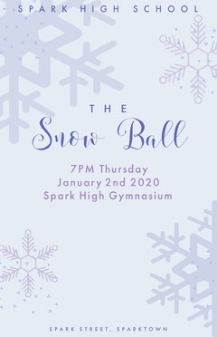 White and Grey Snowball Winter Dance Poster School Dance Flyer
