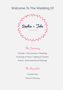 White and Pink Wedding Ceremony Program Programa de bodas